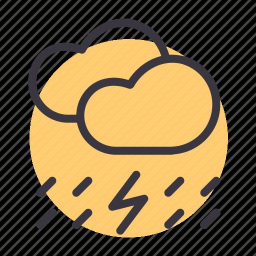 cloud, forecast, lightning, rain, rainfall, thunder, weather icon
