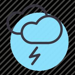 cloud, forecast, lightning, thunder, weather icon
