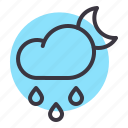 cloud, drizzle, drops, moon, night, rain, rainfall icon