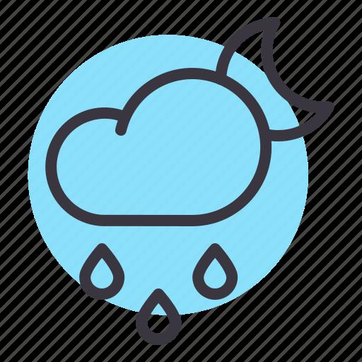 cloud, drizzle, drops, moon, night, rain, rainfall icon