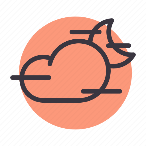 cloud, cloudy, fog, foggy, mist, moon, night icon