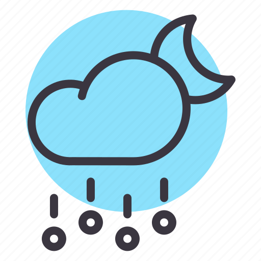 cloud, forecast, hail, moon, night, rain, stone icon