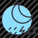 forecast, lightning, moon, night, rain, rainfall, thunder icon