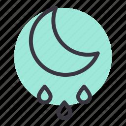 drizzle, forecast, moon, night, rain, rainfall, weather icon