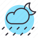 cloud, forecast, moon, night, rain, rainfall, weather