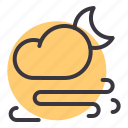 cloud, cloudy, moon, night, storm, wind, windy icon