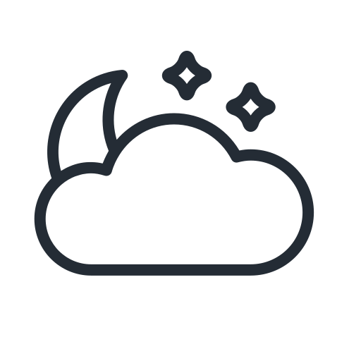 cloud, cloudy, moon, night, star, stars, weather icon