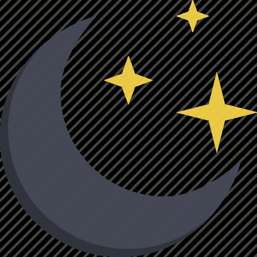 child toy, moon, night, night sky, sky, starry night icon