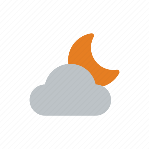 clouds, night, snow, snowflake, weather icon
