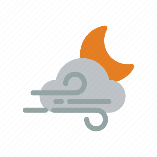 clouds, cloudy, moon, night, snow, weather icon
