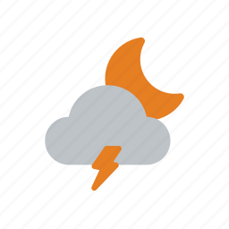 clouds, moon, night, snow, snowflake, storm, weather icon