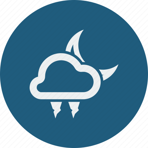 cloud, clouds, cloudy, forecast, hailstones, moon, night, weather icon