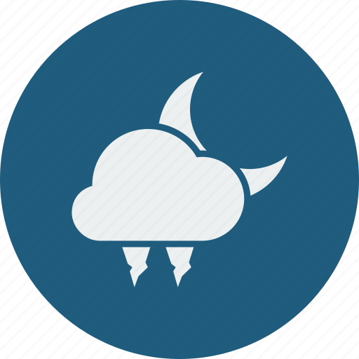 cloud, cloudy, forecast, hailstones, moon, night, weather, winter icon