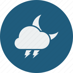 cloud, cloudy, forecast, lightning, moon, night, weather icon