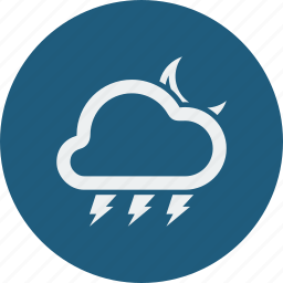 cloud, clouds, cloudy, forecast, lightning, moon, night, weather icon