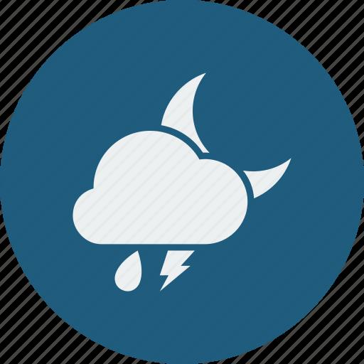 lightning, night, rainy icon