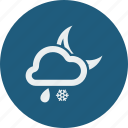 cloud, cloudy, forecast, moon, night, rain, rainy, snowfall, weather icon