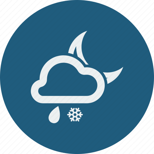 cloud, cloudy, forecast, moon, night, rain, rainy, snowfall, weather icon