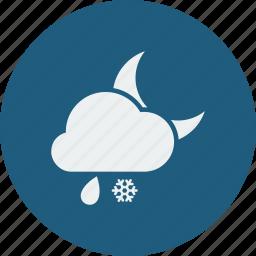 night, rainy, snowfall icon