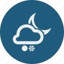cloud, clouds, cloudy, forecast, moon, night, snow, snowball, snowfall, weather icon