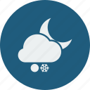 cloud, clouds, cloudy, forecast, moon, night, snowball, snowfall, weather icon