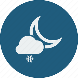 cloud, clouds, cloudy, forecast, moon, night, snow, snowfall, weather icon