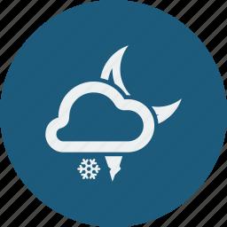 hailstones, night, snowfall icon