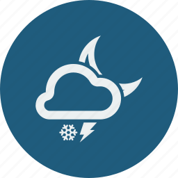 cloud, clouds, cloudy, forecast, lightning, moon, night, snowfall, weather icon
