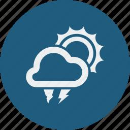 hailstones, lightning, sunny icon