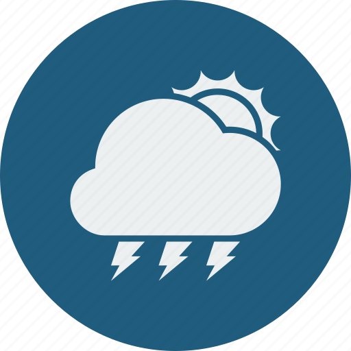 cloud, clouds, cloudy, forecast, lightning, sunny, weather icon