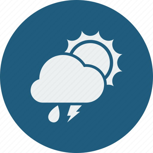 lightning, rainy, sunny icon