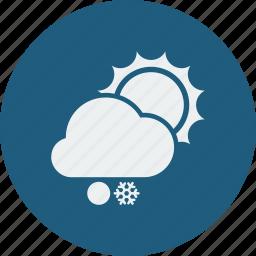 snowball, snowfall, sunny icon