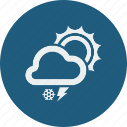 lightning, snowfall, sunny icon