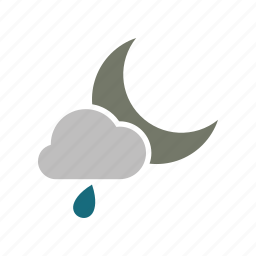 cloud, cloudy, forecast, moon, night, rain, rainy, weather icon