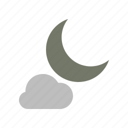 cloud, cloudy, forecast, moon, night, weather icon