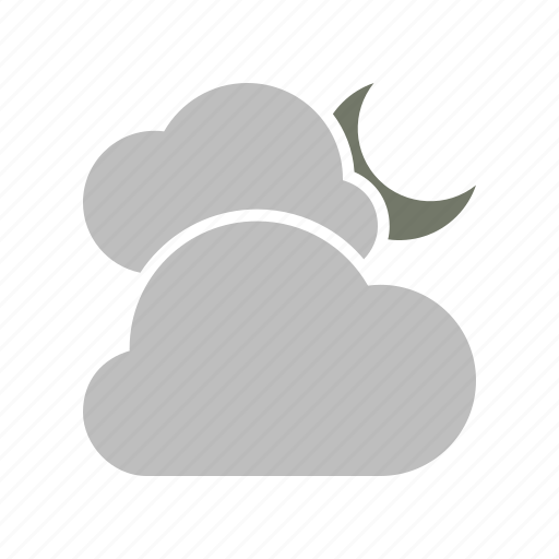 clouds, cloudy, forecast, moon, night, weather icon