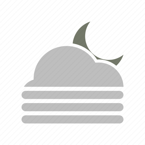 cloud, cloudy, fog, forecast, moon, night, weather icon