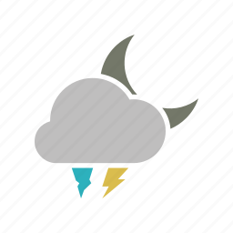 cloud, cloudy, energy, forecast, hailstones, lightning, moon, night, power, storm, weather icon