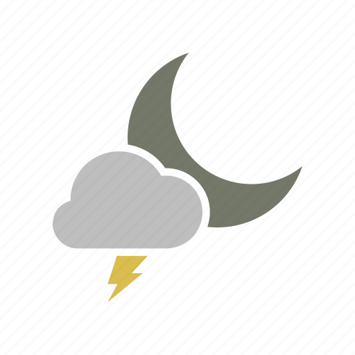 cloud, cloudy, electricity, energy, forecast, lightning, moon, night, power, weather icon