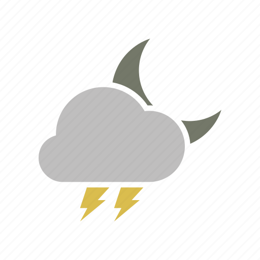 cloud, cloudy, electric, electricity, energy, forecast, lightning, moon, night, power, weather icon