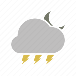 cloud, cloudy, energy, forecast, lightning, moon, night, power, storm, weather icon