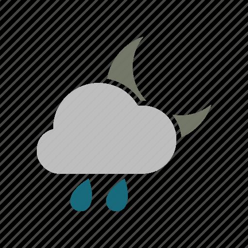cloud, cloudy, forecast, moon, night, rain, rainy, weather icon