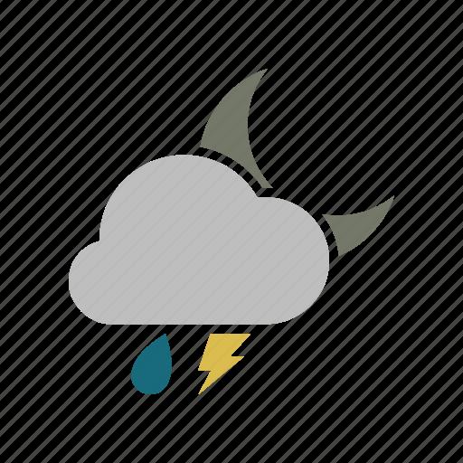 cloud, cloudy, electricity, energy, forecast, lightning, moon, night, power, rain, rainy, weather icon