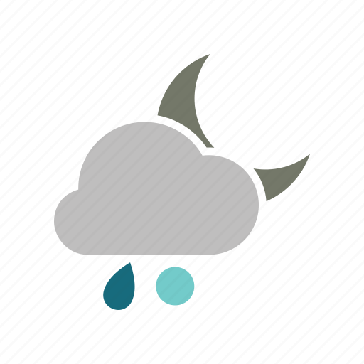 cloud, cloudy, forecast, moon, night, rain, rainy, snowball, weather icon