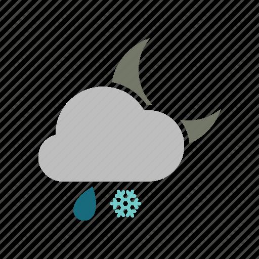 cloud, cloudy, forecast, moon, night, rain, rainy, snow, snowfall, weather icon
