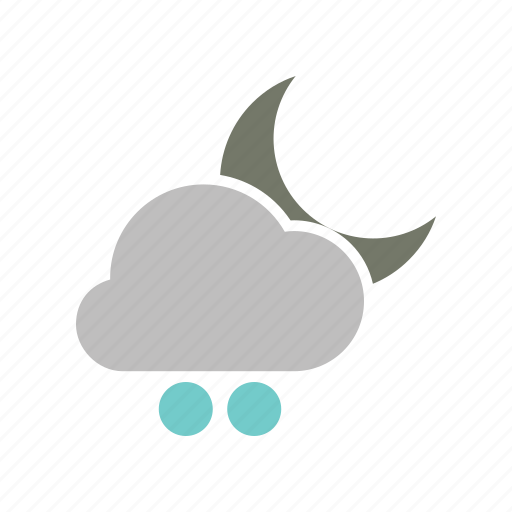 cloud, cloudy, forecast, moon, night, snowball, weather, winter icon