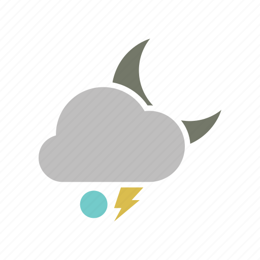 cloud, cloudy, electricity, energy, forecast, lightning, moon, night, power, snowball, storm, weather icon