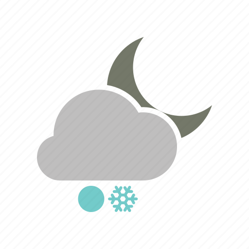 cloud, cloudy, forecast, moon, night, snow, snowball, snowfall, weather, winter icon