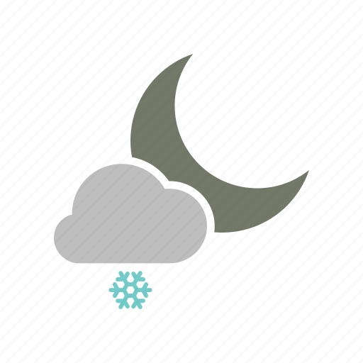 cloud, cloudy, forecast, moon, night, snow, snowfall, weather, winter icon