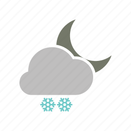 cloud, cloudy, forecast, moon, night, snow, snowfall, weather icon